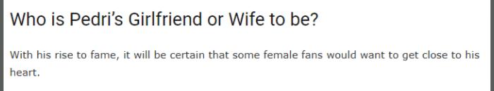 天才ペドリの彼女wiki家族