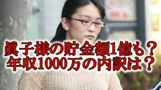 眞子様の貯金額と年収